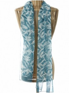 100% Georgette Silk Scarf-Gum Leaf Blue
