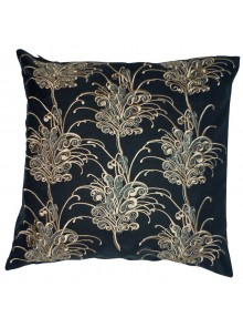 Cushion Cover- Embroidered Grevillea Flower Black