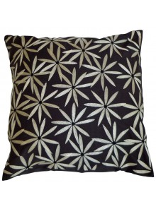 Cushion Cover- Embroidered Flannel Flower Leaf Black