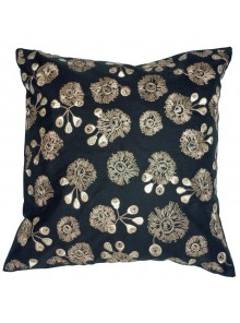 Cushion Cover- Embroidered Bush Blossom Flower Black