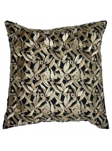 Cushion Cover- Embroidered Eucalyptus Leaf Grey