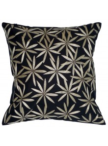 Cushion Cover- Embroidered Flannel Flower Leaf Grey