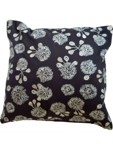 Cushion Cover- Embroidered Bush Blossom Flower Grey