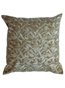 Cushion Cover- Embroidered Eucalyptus Leaf Beige