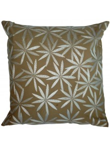 Cushion Cover- Embroidered Flannel Flower Leaf Beige