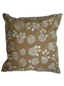 Cushion Cover- Embroidered Bush Blossom Flower Beige
