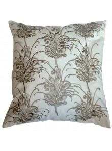 Cushion Cover- Embroidered Grevillea Flower White
