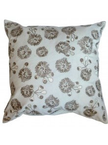 Cushion Cover- Embroidered Bush Blossom Flower White