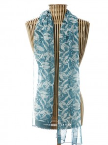 Silk Georgette Scarf Gum Leaf Teal-Blue